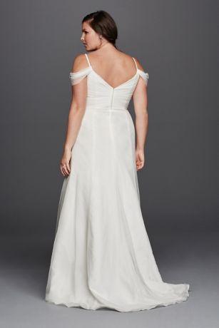 A line plus size wedding dress with swag sleeves david 39 s for Wedding dress with swag sleeves
