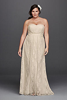 Linear Lace Plus Size Wedding Dress with Ribbon 9WG3782