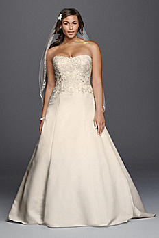 Satin Strapless A-line Plus Size Wedding Dress 9WG3788