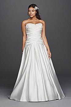 Satin Beaded Lace Applique Plus Size Wedding Dress 9WG3789