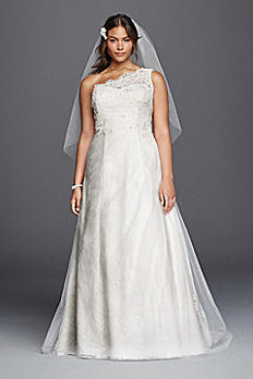 One Shoulder Tulle A-line Plus Size Wedding Dress 9WG3790