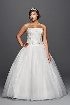 Beaded Tulle Ball Gown Plus Size Wedding Dress 9WG3798