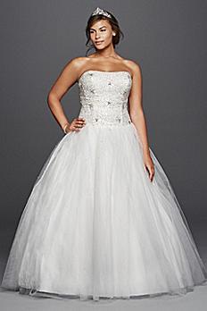 Jewel Tulle Plus Size Wedding Dress with Beading 9WG3798