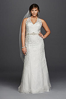 Jewel Lace Plus Size Halter Wedding Dress 9WG3799