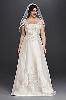 Cap Sleeve Mikado A-Line Plus Size Wedding Dress 9WG3815