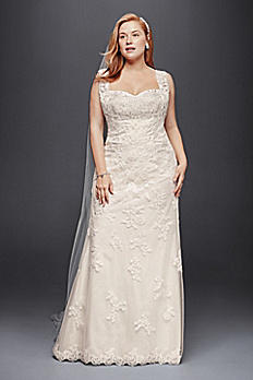 Plus Size Sheath Wedding Dress with Tank Straps 9WG3816