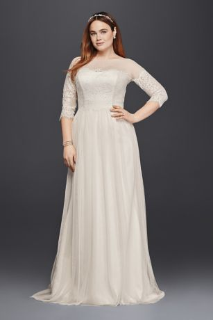 Plus Size Tulle Wedding Dress with Sheer Sleeves Davids Bridal