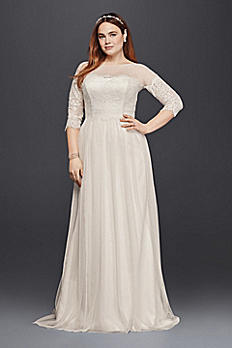 Plus Size Wedding Dress with Lace Sleeves 9WG3817