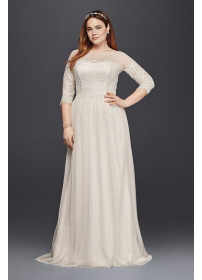 Plus size tulle wedding dress with sheer sleeves davids bridal long sheath wedding dress galina junglespirit Gallery