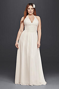 Plus Size Lace Sheath Halter Wedding Dress 9WG3819
