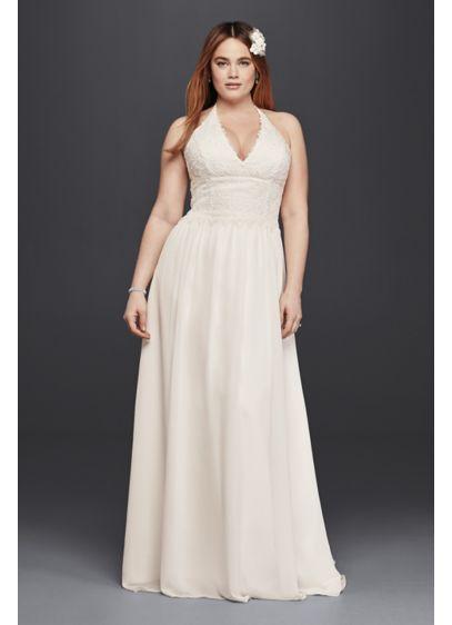 Plus Size Lace Halter Chiffon Wedding Dress   David\'s Bridal