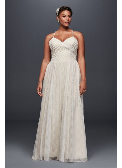 Soft Lace Plus Size Wedding Dress with Pleating   David\'s Bridal