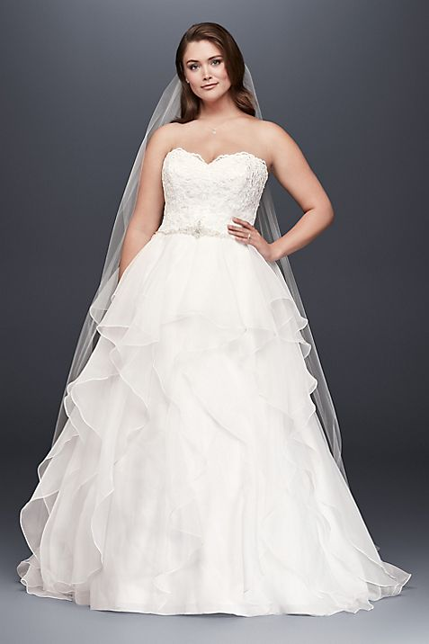 Lace and Organza Plus Size Ball Gown Wedding Dress | David\'s Bridal