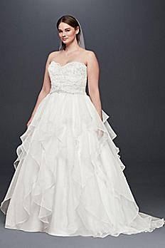 Lace and Organza Plus Size Ball Gown Wedding Dress 9WG3830