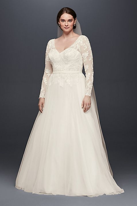 Plus size long sleeve wedding dress with low back davids bridal junglespirit