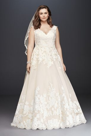 Scalloped Lace and Tulle Plus Size Wedding Dress Davids Bridal