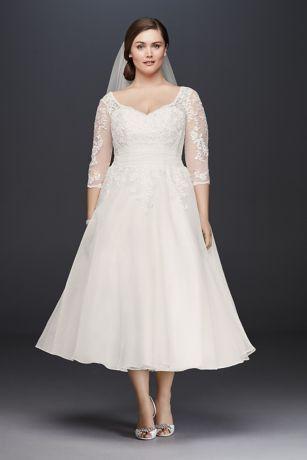 Tulle Plus Size TeaLength Wedding Dress Davids Bridal