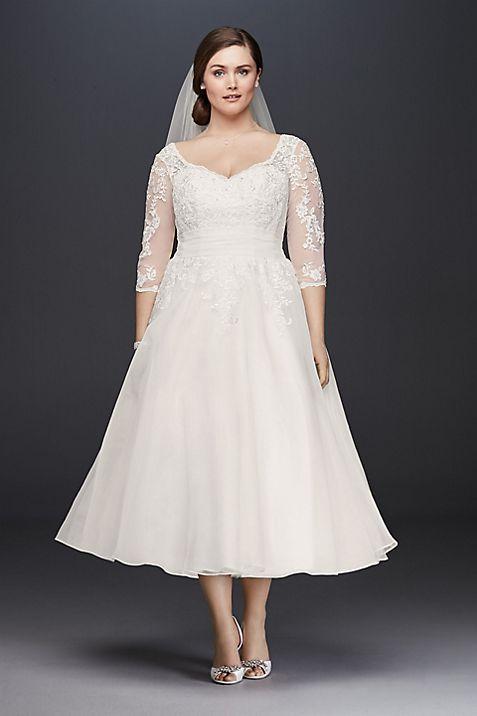 Tulle plus size tea length wedding dress davids bridal junglespirit Image collections