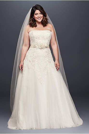 Appliqued Tulle A-Line Plus Size Wedding Dress