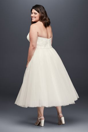Appliqued Tulle Tea-Length Plus Size Wedding Dress   David ...