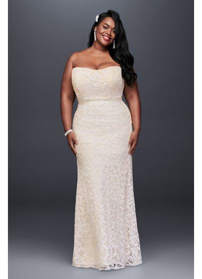 Guipure Lace Sheath Plus Size Wedding Dress | David\'s Bridal