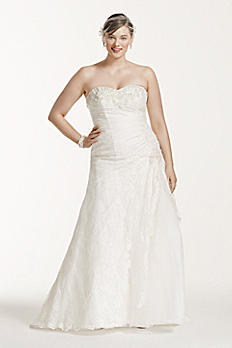 Lace A-line Side Split Plus Size Wedding Dress 9YP3344