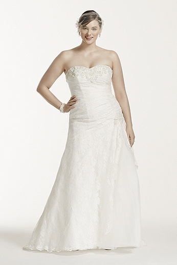 Strapless Lace A-line Gown with Side Split 9YP3344