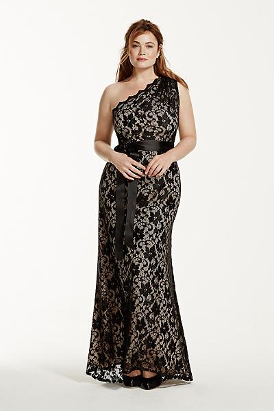 Black One Shoulder Dresses Plus Size Bella Forte Glass Studio