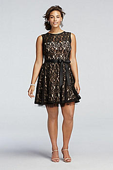Sleeveless  Lace Dress with Sash Detail A14209W
