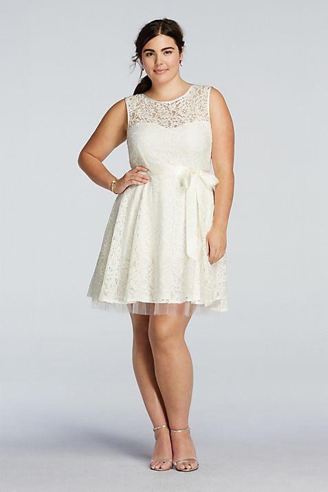 Sleeveless Plus Size Lace Dress with Sash Detail | David\'s Bridal