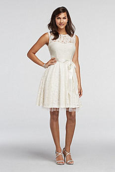 Sleeveless Lace Dress with Sash Detail A14209