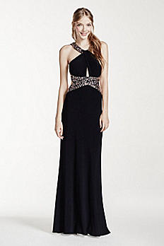 Halter Neck Key Hole Beaded Dress with Open Back A14607