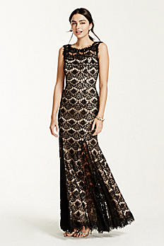 Sleeveless Allover Lace Dress with Beaded Neck A15432