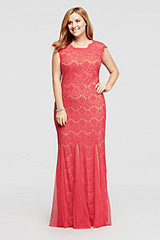 Floor Length Allover Lace Dress with Mesh Godets A15461W