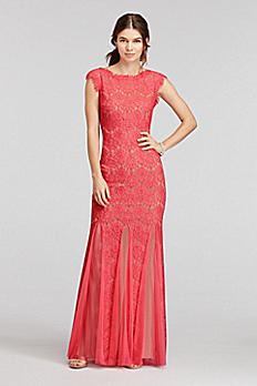 Long Lace Scoop Back Dress with Mesh Godets A15461
