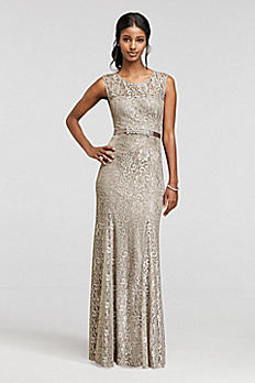 Illusion Tank Beaded Lace Dress with Sash A15534
