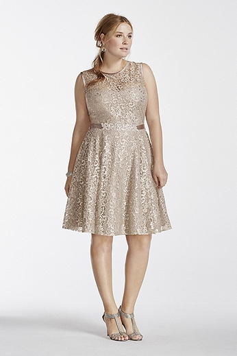 Illusion Tank Shimmer Lace Dress with Beaded Sash A15607W