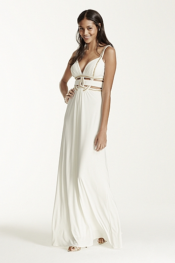 Sleeveless Dress with Metallic Detail and Cut Outs A15808