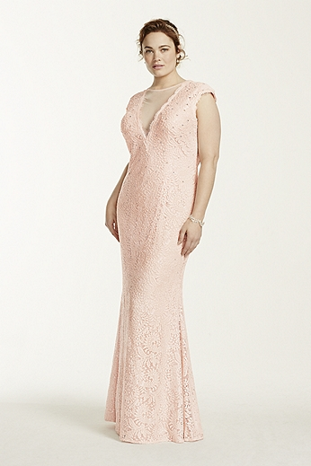 Cap Sleeve Illusion Plunge Neckline Lace Dress A15996W