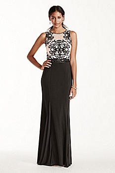 Flocked Tank Bodice Jersey Dress with Beaded Sash A16057
