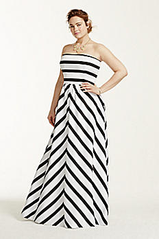 Strapless Striped Ball Gown A16261W