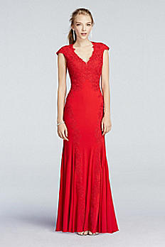 Illusion Back Lace Applique Prom Dress with Godets A16612