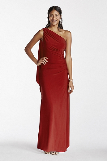 One Shoulder Jersey Sheath Dress with Draping A16811