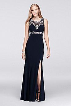 Beaded Back Illusion Bodice Long Dress A17446D