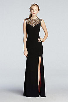 Beaded High Neck Tank Prom Dress with Side Slit A17457