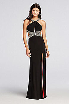 Haltered Jersey Prom Dress with Coral Lining A17571