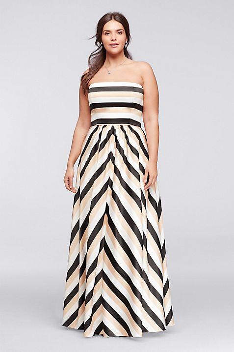 Striped Strapless Prom Dress with Pockets | David\'s Bridal