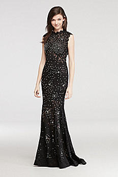 High Neck Lace Prom Dress with All Over Beading A17916