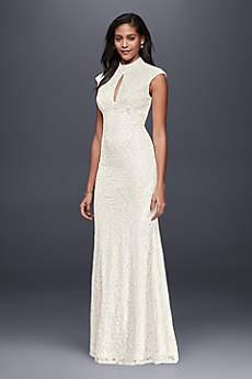 Long Sheath Simple Wedding Dress - Betsy and Adam