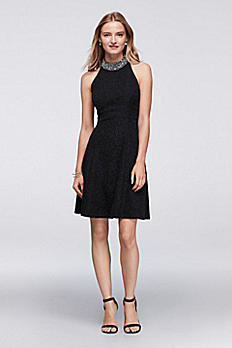 High-Neck Halter Dress with Beaded Collar A18361